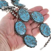 Spiderweb Turquoise Silver Native American Squash Blossom Necklace 41415