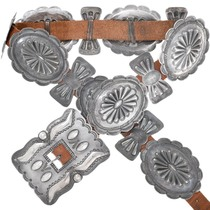 Old Pawn Sterling Silver Native American Concho Belt 41416