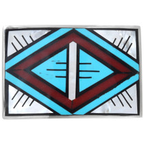 Turquoise Inlay Silver Belt Buckle 41420