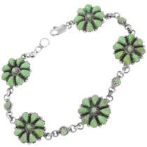Vintage Zuni Green Turquoise Tennis Bracelet 41422