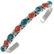 Spiderweb Turquoise Coral Sterling Silver Bracelet 41424