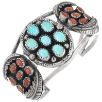 Vintage Navajo Turquoise Coral Silver Cuff Bracelet 41425