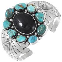 Vintage Onyx Turquoise Sterling Silver Native American Bracelet