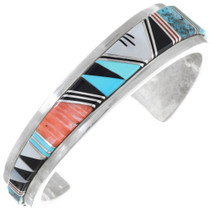 Vintage Sterling Silver Turquoise Inlay Bracelet 41428