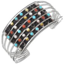 Vintage Zuni Multi Stone Sterling Silver Bracelet 41429