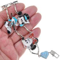 Native American Gemstone Inlay Mickey and Minnie Link Bracelet 41431