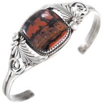 Vintage Navajo Sterling Silver Petrified Wood Bracelet 41439
