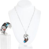 Vintage Turquoise Coral Bear Claw Bracelet Pendant Set 41440