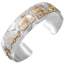 Navajo Sterling Silver Gold Storyteller Bracelet 41442