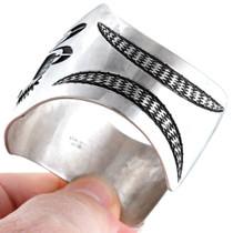 Navajo Silver Overlay Early Morning Singer Kachina Bracelet 41446