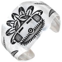 Vintage Navajo Sterling Silver Kachina Cuff Bracelet 41446
