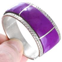 Purple Inlay Sterling Silver Navajo Cuff Bracelet 41450