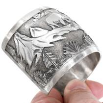 Navajo Forest Mountain Bear Scene Overlaid Sterling Silver Bracelet 41451