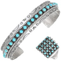 Vintage Zuni Turquoise Bracelet Ring Set 41457