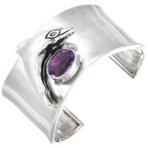 Vintage Amethyst Sterling Silver Dolphin Cuff Bracelet 41462