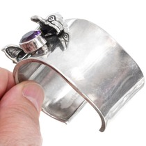 Faceted Amethyst Solid Sterling Silver Cuff Bracelet 41462
