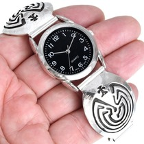 Sterling Silver Man in the Maze Symbol Navajo Watch 41466