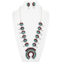 Coral Turquoise Navajo Squash Blossom Necklace Set 41487
