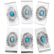Wholesale Lot of 6 Silver Navajo Turquoise Money Clips 41508