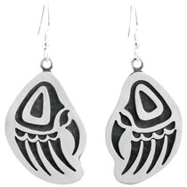 Native American Sterling Silver Bear Paw Earring 41510