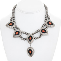 Old Pawn Sterling Silver Coral Navajo Necklace 41514