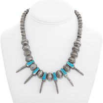 Old Pawn Navajo Turquoise Silver Claw Necklace 41515