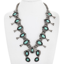 Old Pawn Turquoise Squash Blossom Necklace 41518