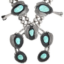 Navajo Squash Blossom High Grade Turquoise Necklace 41518