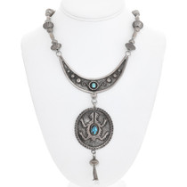 Old Pawn Navajo Turquoise Sterling Silver Necklace 41519