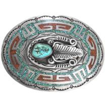 Vintage Navajo Sterling Silver Coral Turquoise Belt Buckle 41521