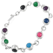 Colorful Sterling Silver Tennis Bracelet 41537