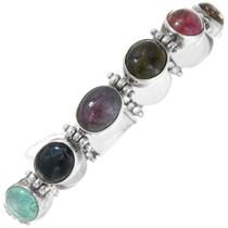 Vintage Sterling Silver Tourmaline Tennis Bracelet 41538