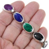Sterling Silver Lapis Gemstone Link Bracelet 41539
