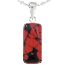 Vintage Spiderweb Red Glass Sterling Silver Pendant 40554