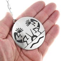 Double Kokopelli Design Sterling Silver Hopi Pendant Necklace 41543