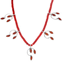Navajo Made Delicate Sterling Silver Coral Necklace 41551