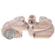 Zuni Two Bear Fetish Carved Pink Marble Pen Holder Sculpture 0032
