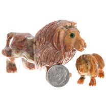 Lion Carvings Peruvian Fetish Tabletop Sculptures Set of Two 0037