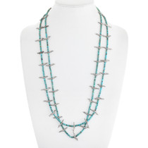 Sterling Silver Bird Fetish Turquoise Heishi Necklace 41552