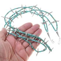 Navajo Bird Totem Heishi Bead Turquoise Necklace 41552