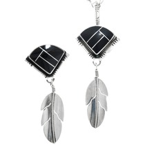Black Onyx Inlay Sterling Silver Feather Pendant Brooch Set 41563