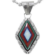 Vintage Navajo Gemstone Opal Inlay Pendant 41565