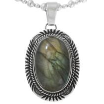 Vintage Navajo Labradorite Sterling Silver Pendant 41566