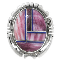 Vintage Spiny Oyster Lapis Silver Native American Lapel Pin 41575