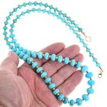 Gold 12KGF Beads Graduated Turquoise Necklace 41582