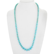 Natural Turquoise Gold Beaded Native American Necklace 41582