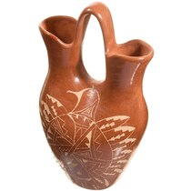 Vintage Jemez Wedding Vase Pottery Etched Birds by Brenda Panana 0027