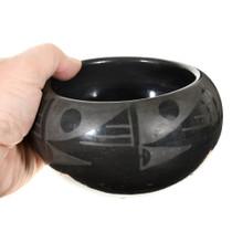 Vintage Santa Clara Blackware Pottery Bowl Mid 20th Century 0070