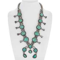 Old Pawn Green Turquoise Squash Blossom Necklace 41601