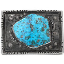 Old Pawn Navajo Natural Turquoise Sterling Silver Belt Buckle 41602